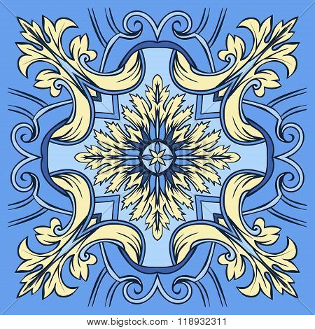 Hand Drawing Tile Pattern In  Blue And Yellow Colors. Italian Majolica Style.