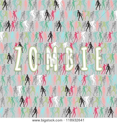 Zombie Silhouettes Set And Zombie Text Lettering Illustration. Vector