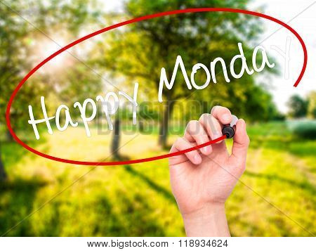 Man Hand Writing Happy Monday With Black Marker On Visual Screen