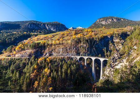 Landvasser Viaduct In The Swiss Alps