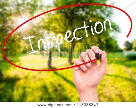 Man Hand Writing Inspection With Black Marker On Visual Screen