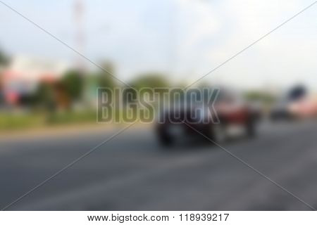 Car Moving On The Road In Thailand.