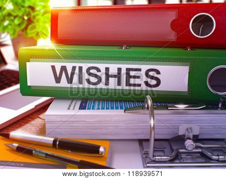 Wishes on Green Ring Binder. Blurred, Toned Image.