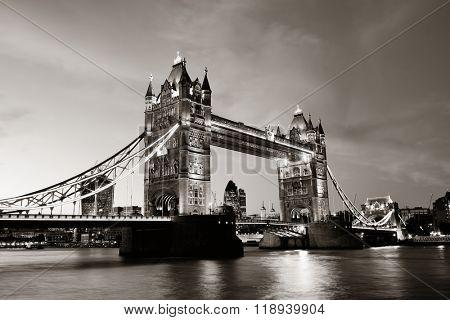 Tower Bridge over Thames River at dusk in London