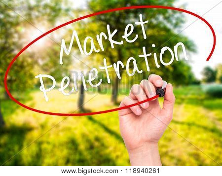 Man Hand Writing Market Penetration With Black Marker On Visual Screen