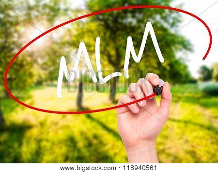 Man Hand Writing  Mlm (multi-level Marketing) With Black Marker On Visual Screen