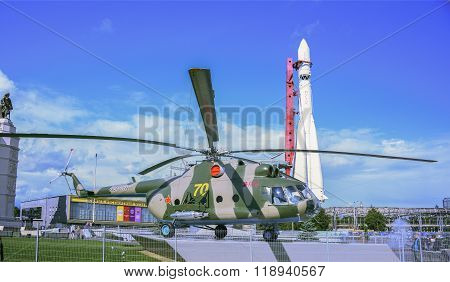 MOSCOW; RUSSIA- JULY 13- Helicopter MI-8 on VDNH on July 13; 2015 in Moscow