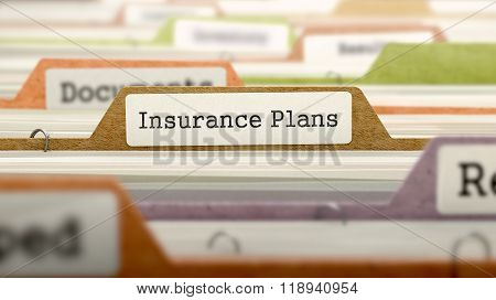 File Folder Labeled as Insurance Plans.