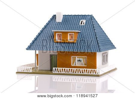 Family House - Plastic Scale Model, Isolated On White