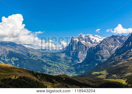 Panorama  View Of Wetterhorn , Schreckhorn And Grindelwald