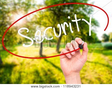 Man Hand Writing Security With Black Marker On Visual Screen