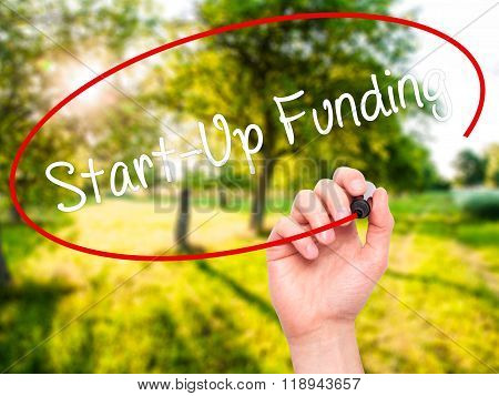 Man Hand Writing Start-up Funding With Black Marker On Visual Screen