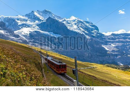 Train Running Under The Jungfrau