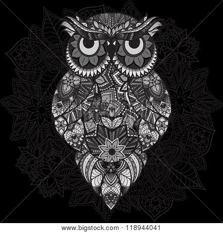 Patterned vector owl on the ornamental mandala background. African, indian, totem, tattoo design. Ve