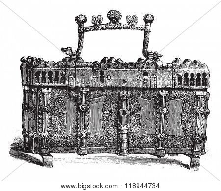 Box of the fourteenth century, iron, adorned with gilded leather and waffle, vintage engraved illustration. Magasin Pittoresque 1878.