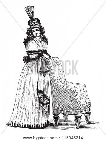Hairdressing at Louis XIV, vintage engraved illustration. Magasin Pittoresque 1880.