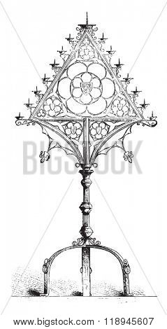 Candelabra of Darkness, in the cathedral of Osnabruck, Hanover, vintage engraved illustration. Magasin Pittoresque 1880.