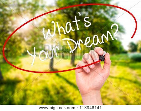 Man Hand Writing What's Your Dream? With Black Marker On Visual Screen