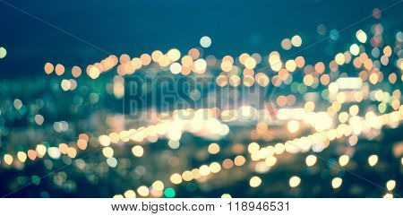 Abstract Blue Circular Natural Bokeh Background, City Lights With Horizon, Art Toning, Panorama