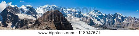 Panorama View Of Bernina Massive And Glacier