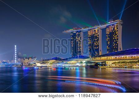SINGAPORE - November 13: Marina Bay Sands Resort at night on November 13, 2015 in Singapore.