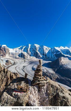 Piz Palu Massive And Morteratsch Glacier