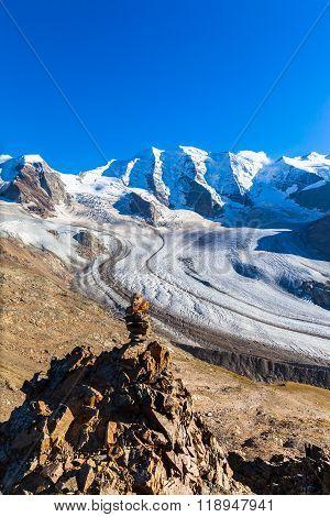 Bernina Massive And Glacier