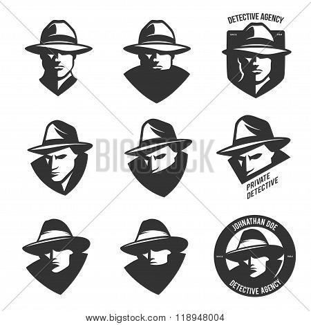 Set of detective agency emblems with abstract men heads in hats. Vintage vector illustration.