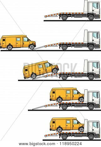 Set of auto transporter and van isolated on white background in flat style in different positions. V