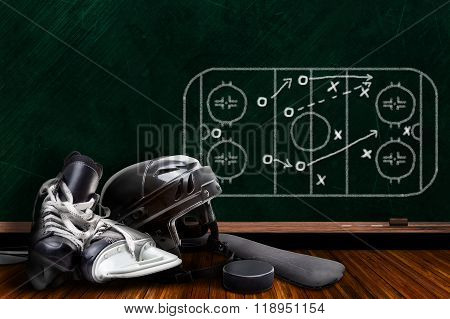 Ice Hockey Equipment And Chalk Board Play Strategy