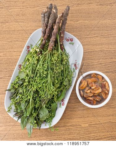 Top View Of Boiled Neem With Sweet Sauce