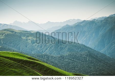 Aerial view Mountains Landscape Summer Travel
