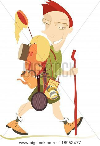 Traveler. Smiling man walks with rucksack and outfit