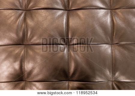 Horizontal Texture Of Brown Upholstery Leather Pattern Background
