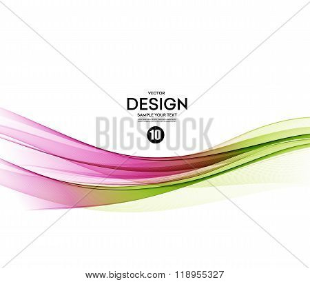 Abstract vector background, green  and pink wavy