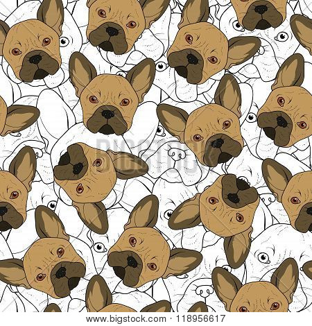 Seamless background with cute brown bulldog sketch . Realistic dog
