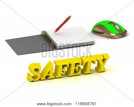 Safety  Inscription Bright Volume Letter And Textbooks And