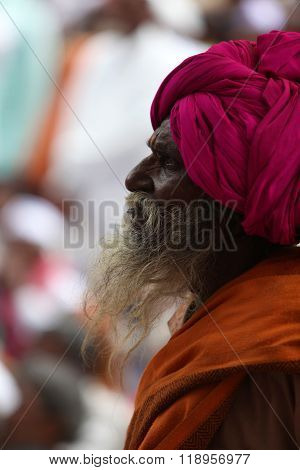 Pune, India - July 11, 2015: A Portrait Of An Old Indian Pilgrim During The Wari Pilgrimmage/festiva