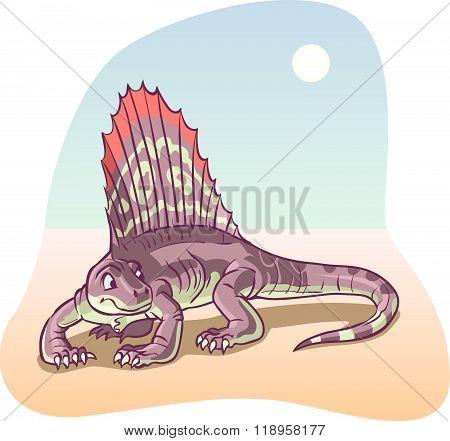 Dimetrodon Dinosaur Vector Cartoon Illustration