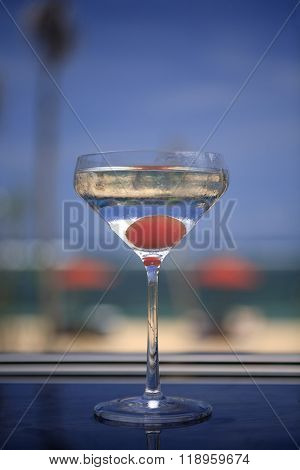 Beautiful elements in the glass of a drink as a still life shot. This image is a drink called Bloody Marie with egg inside it.
