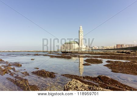 View On Seafront Of Grande Mosquée Hassan II In Casablanca