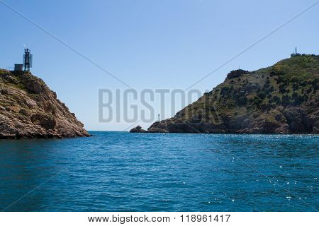 Sea Landscape With Rocks On Shore,