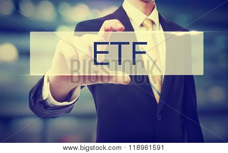 Business Man Holding Etf