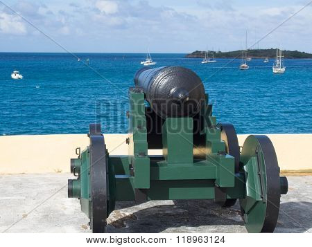 Cannon Barrel Overlooking The Harbor