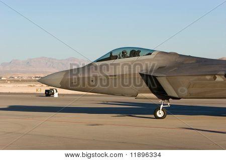 F-22 Raptor jet during airshow