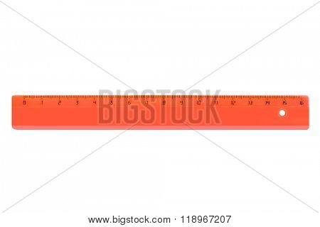 Red ruler isolated on white background