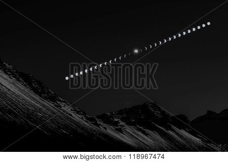 Solar Eclipse Sequence In Iceland