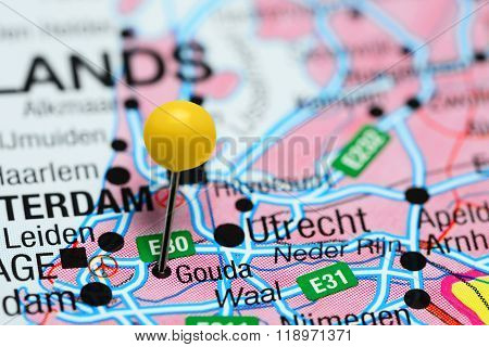 Gouda pinned on a map of Netherlands