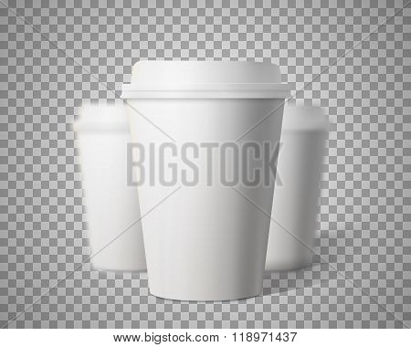 Vector Coffee Cup Set with Blur Depth of Field Effect Isolated o