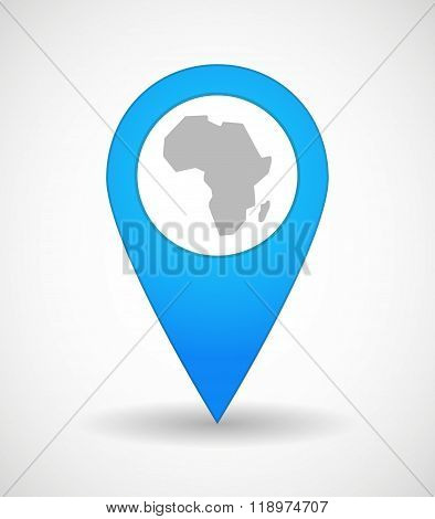 Map Mark Icon With  A Map Of The African Continent